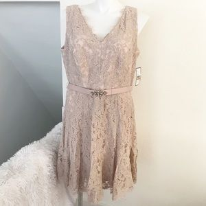 Jessica Howard Nude Lace Belted Dress NWT ✨